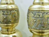 Monumental Large Asian Brass Table Lamps Mid-Century ...