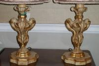 Pair of Carved Italian Mantel Lamps W Fortuny Shades