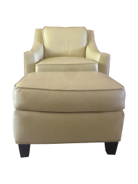 Drexel Heritage Leather Club Chair and Ottoman | Chairish