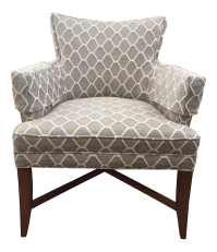 Pearson Gray & Beige Patterned Accent Chair | Chairish