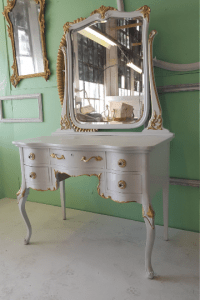 Antique White Makeup Vanity With Mirror & Chair | Chairish