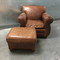 Restoration Hardware Chair & Ottoman | Chairish