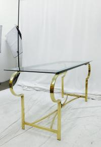 Vintage Mid-Century Modern Brass & Glass Console Table ...