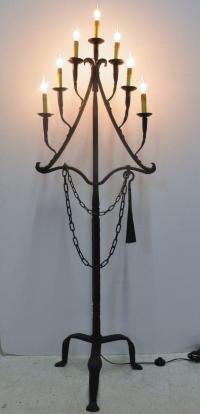 Antique 18th Century Wrought Iron Floor Lamp | Chairish