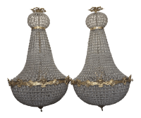 Large Empire Style Beaded Chandeliers- A Pair | Chairish