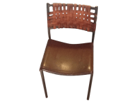 Shaver Howard Midcentury Iron Chair Leather Strap | Chairish