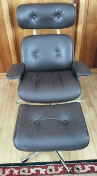 Mid-Century Leather Lounge Chair & Ottoman | Chairish