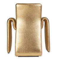 Metallic Gold Leather Dining Chairs