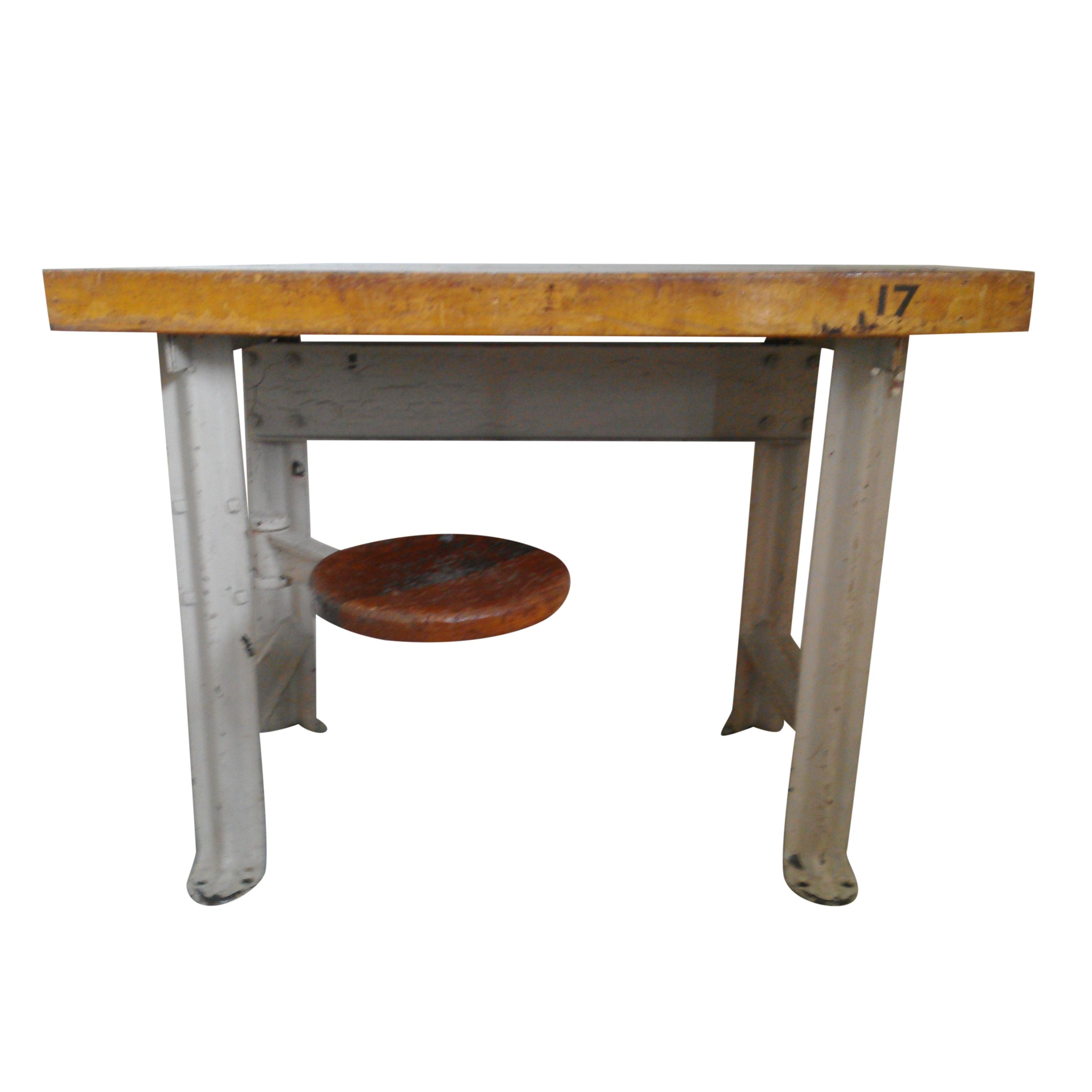 Industrial Table With Swing Out Seat