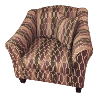 Patterned Accent Chair With 2 Throw Pillows | Chairish