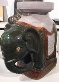 Mid-Century Hollywood Regency Elephant Garden Stool, Side ...