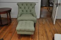 Custom Upholstered Occasional Chair & Ottoman | Chairish