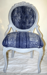 Whitewashed Tufted Victorian Side Chair | Chairish