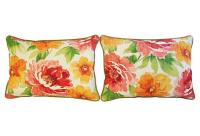 Jewel-Tone Floral Lumbar Pillows - a Pair | Chairish