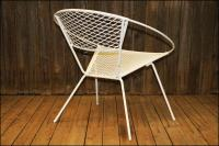 Mid-Century Modern Metal Mesh Hoop Chair | Chairish