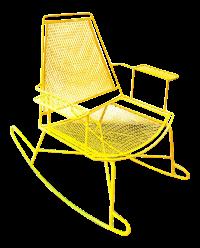 Mid-Century Metal Mesh Patio Rocking Chair | Chairish