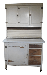 Mid-Century White Wood Hoosier Potting Cabinet | Chairish