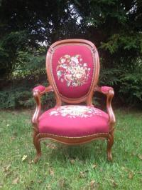 Antique Victorian Floral Needlepoint Chair