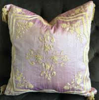 Pink Silk Embroidered Accent Pillow | Chairish