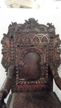 19th Century English Carved Throne Chair | Chairish