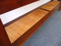 Mid-Century Walnut Smoke Glass & Cane Console Table | Chairish