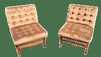 Mid-Century Tufted Velvet Chairs - A Pair | Chairish