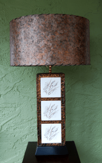 Mid-Century Brutalist Copper & Tiled Table Lamp | Chairish