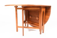 Mid-Century Drop Leaf Oval Jentique Dining Table | Chairish