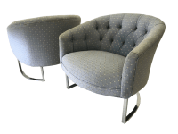 Milo Baughman Chrome Tufted Barrel Chairs