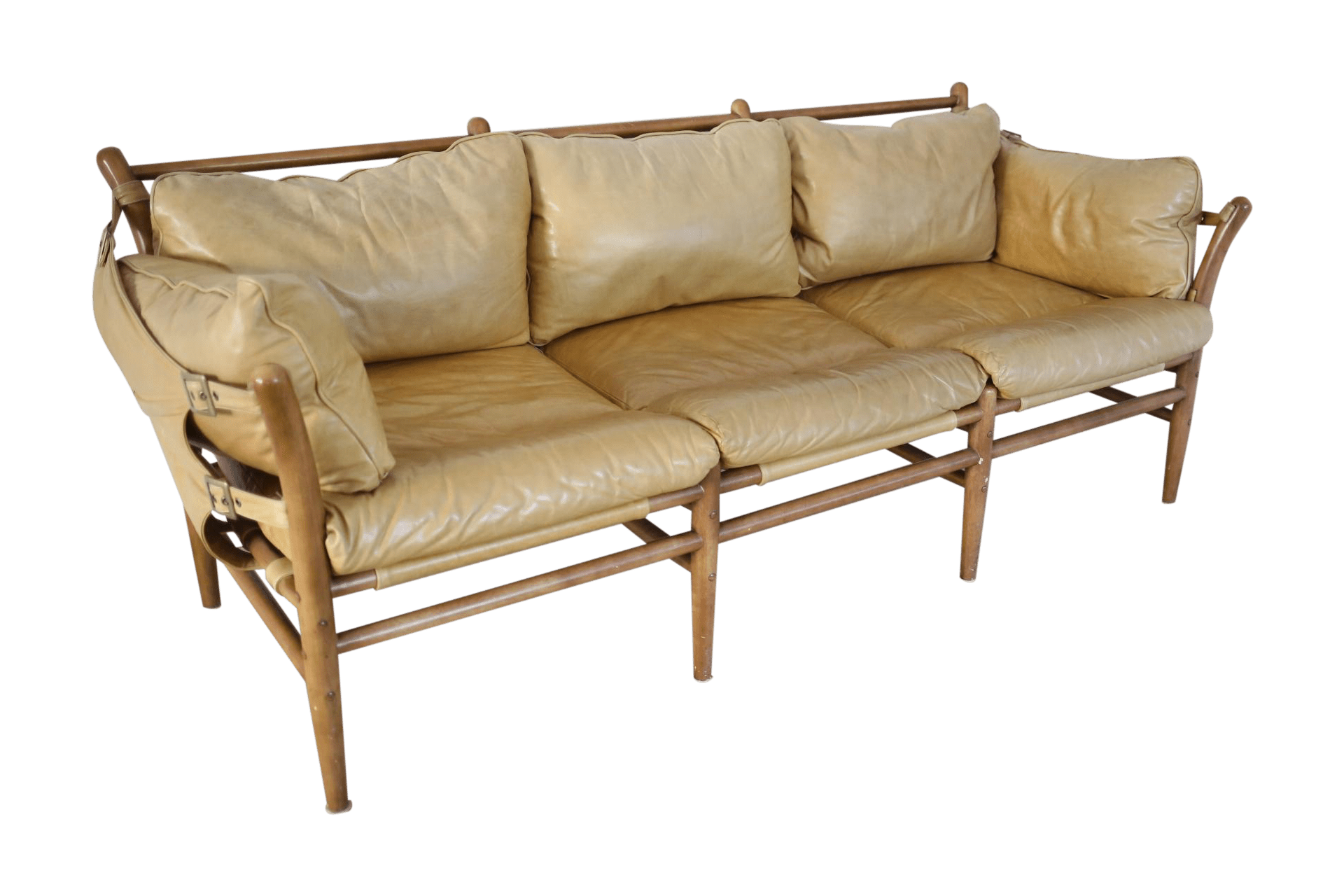 hickory chair leather couch ciao baby travel high safari sofa from anthropologie | chairish