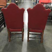 Southwestern Style Wood & Leather Chairs - A Pair | Chairish