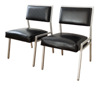 Steelcase Mid Century Black Office Chairs - a Pair | Chairish