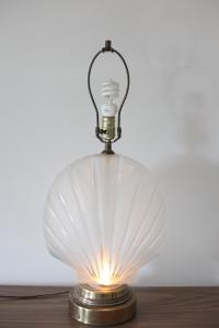 Frosted Glass Clam Shell Lamp With Brass Base | Chairish