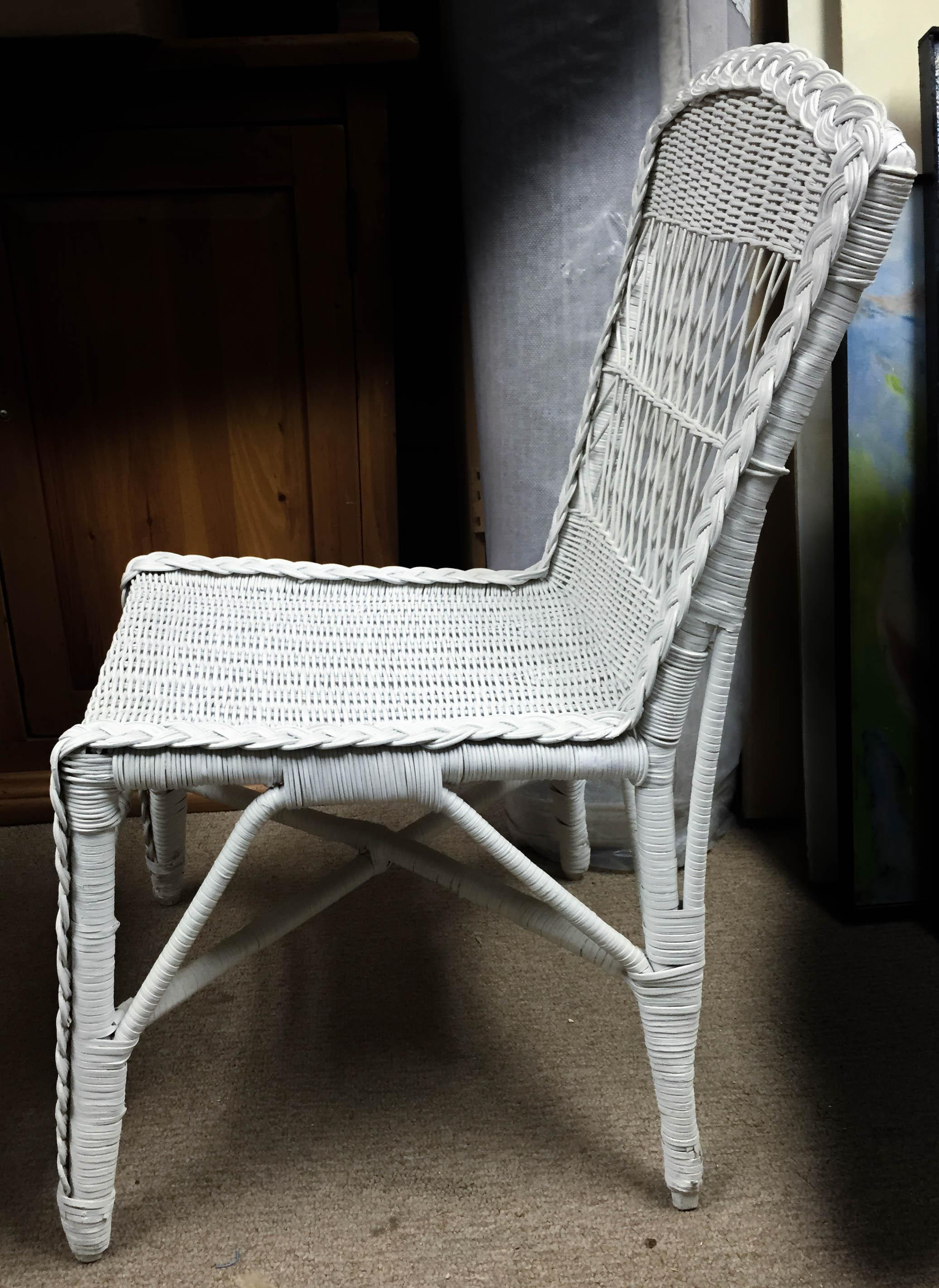 Antique White Wicker Desk  Chair  Chairish