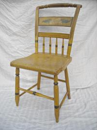 Antique Primitive Mustard Painted Side Chair | Chairish