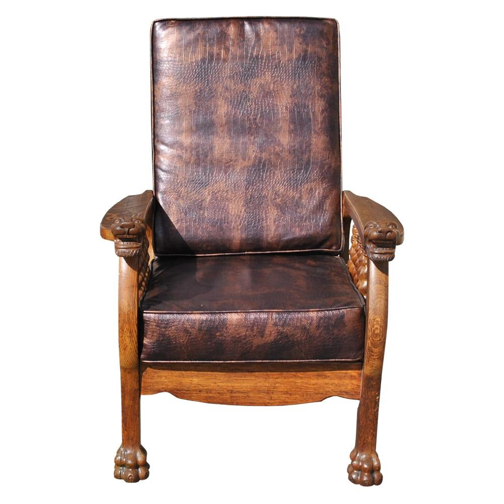 Antique Tiger Oak Barley Twist Morris Chair  Chairish