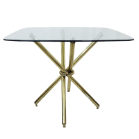 Mid-Century Modern Brass Knot Glass Top Table | Chairish