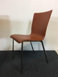 Mid-Century Modern Style Leather & Metal Side Chairs - Set ...