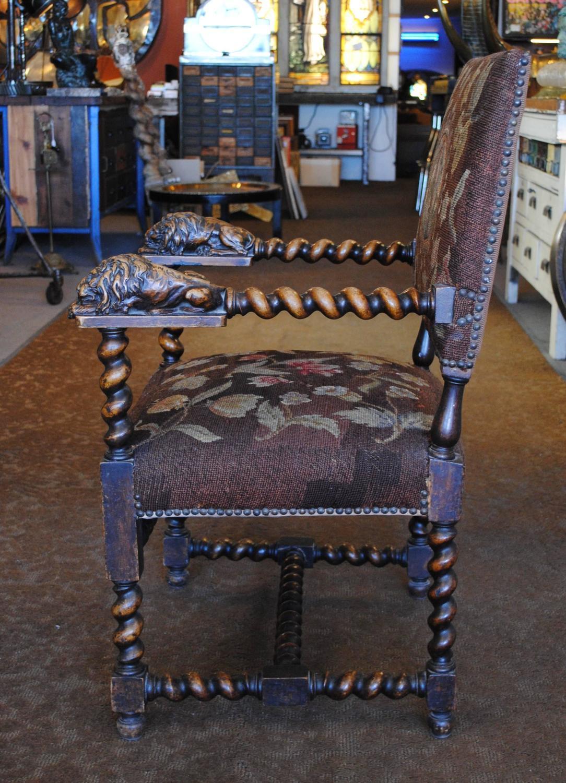 barley twist chair home depot cushions carved lion | chairish