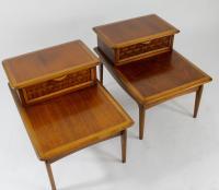 Lane Mid Century Modern Walnut End Tables - a Pair | Chairish