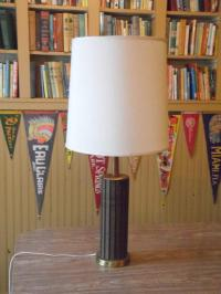 Mid-Century Wood and Brass Table Lamp | Chairish
