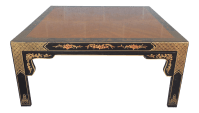 Henredon Black Lacquer Chinoiserie Coffee Table | Chairish