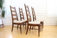 Vintage Mid Century Modern Ladder Back Dining Chairs - Set ...