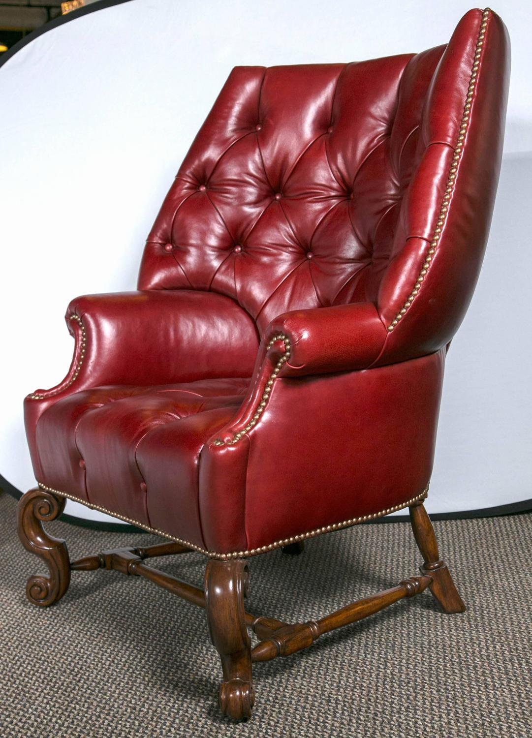 Oversized Tufted Leather Wingback Chairs  Pair  Chairish