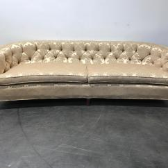 Hollywood Regency Curved Sofa Marco Cream Chaise By Factory Outlet Vintage Mid Century Tufted ...