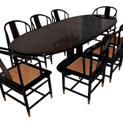 Henredon Asian Dining Chairs Ikea Nils Chair Covers Uk Black Lacquer Set - 9 Pieces   Chairish