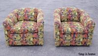 Pair of Mid Century Swivel Club Chairs Milo Baughman Style ...