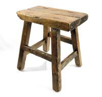 Primitive Rustic Handmade Wooden Stool   Chairish