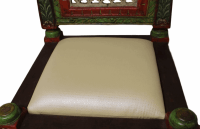 Hand Painted Carved Wood Low Chair | Chairish