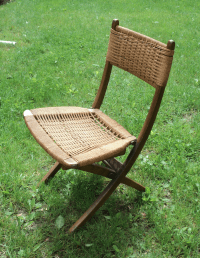 Mid-Century Modern Wood & Woven Chair Yugoslavia | Chairish
